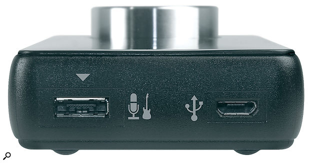 Sockets for the USB connection and breakout cable. The 3.5mm stereo output is at the other end.