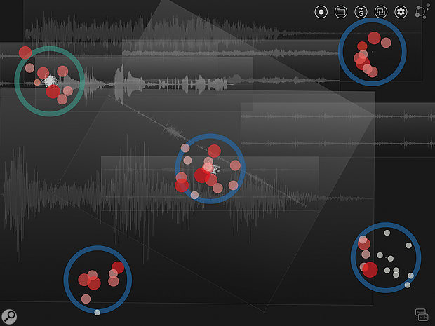 Multiple audio files can be mixed and positioned on screen ready for clouds to drift over them and work their magic.