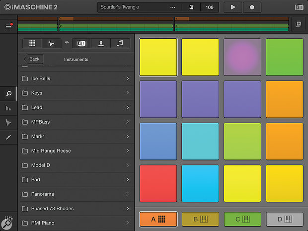 The groups and individual pads of an iMaschine kit can be coloured.