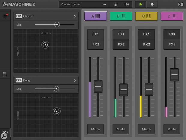 The iMaschine 2 mixer is a simple affair.