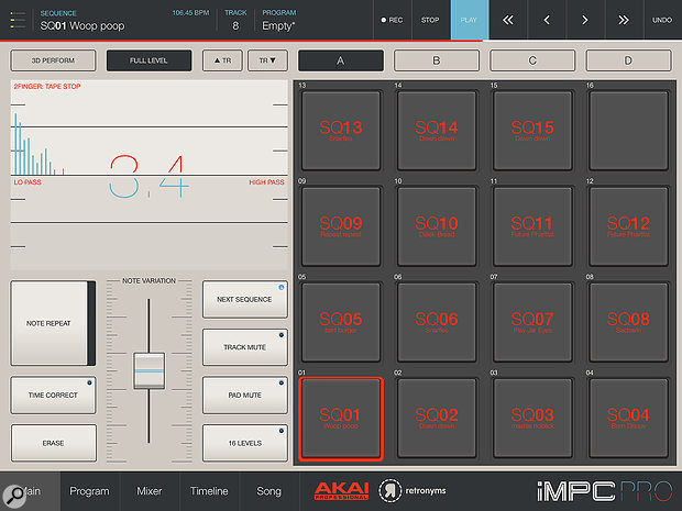 The main iMPC Pro screen with its array of performance tools.