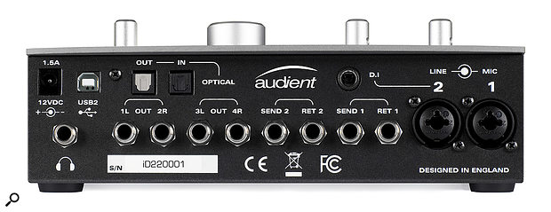 On the ID22's back panel there are two combination inputs, an alternative instrument input on channel 2, balanced insert points, four line outputs and aheadphone socket. Digital optical I/O is available, situated next to the USB connector and asocket for the external DC power supply.
