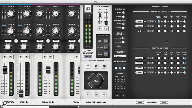The ID22 Mixer software. The left-hand side of the window is used for mixing input and output signals and establishing cue mixes. Whilst the master section in the middle is employed to switch views and customise the function keys on the hardware, the right-hand section deals with signal routing and configuration presets.