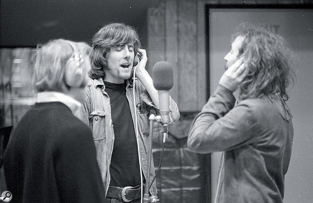 From left to right: Stephen Stills, Graham Nash and David Crosby at Wally Heider Studio 3, February 1969.