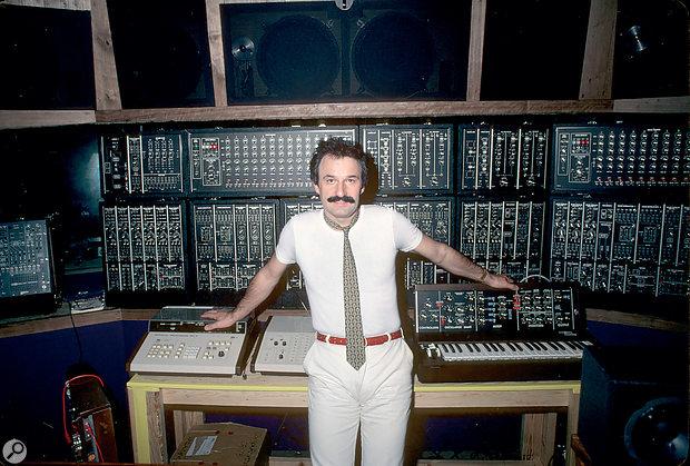 Giorgio Moroder with his Moog modular system.