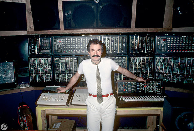 Giorgio Moroder with his Moog modular system.