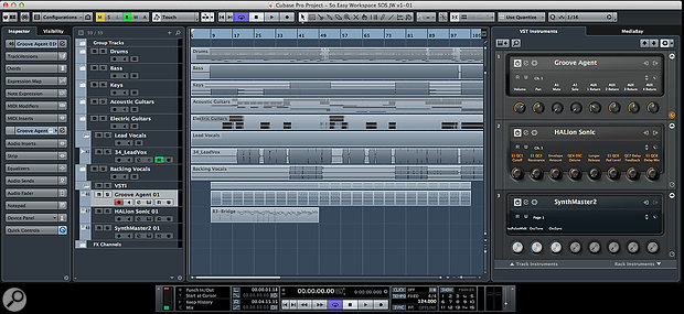 The Cubase Workspace system allows you to master your workflow even on the most compact of monitor systems.