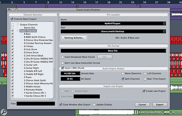 If your DAW allows you to bounce all tracks simultaneously, it can savealot of time and nervous energy!