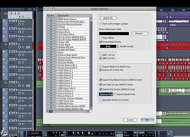 Many DAWs can create OMF files, which allow you to transfer audio tracks, with abit of information about levels, between different pieces ofaudio and videosoftware.
