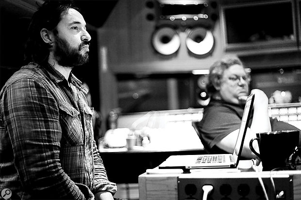 Peter Franco (left) with Mick Guzauski during the recording of Random Access Memories at Henson Studios.