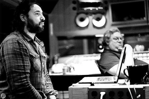 Peter Franco (left) with Mick Guzauski during the recording of Random Access Memories at Henson Studios.