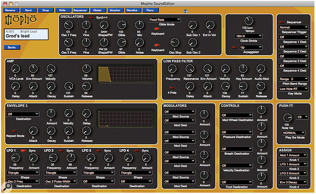 The SoundEditor software shows you all of the synth's voicing parameters on asingle screen and provides afar easier way to program the Mopho.
