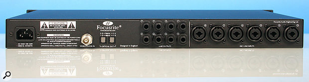 The rear panel of the Octopre MkII — plenty of analogue I/O, but no digital input. Those ADAT opticals are output-only.