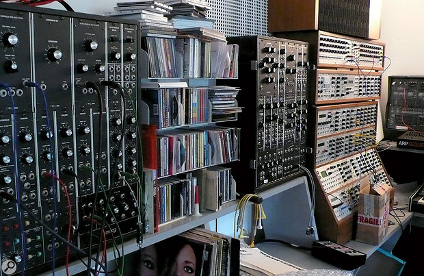 Although synths played aless central role than usual on Tales Of Us, they are still very much central to Will Gregory's studio. Visible in this shot are his Moog and Analogue Systems modular synths, and (back, right) the ARP 2600 often used for processing Alison Goldfrapp's voice.