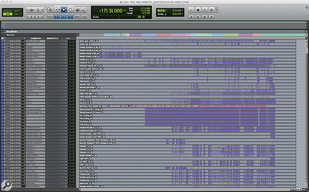 The Pro Tools Session for 'You're Nobody Till Somebody Loves You'.