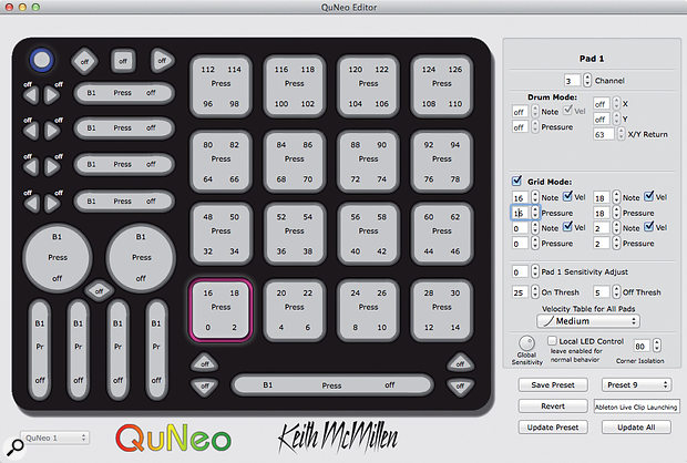 The QuNeo software editor.