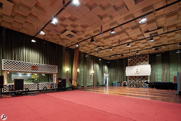Studio Three is a similar size and shape to the nearby Abbey Road Studio 2, and is likewise renowned for its comfortable acoustic. The control room is visible through the window on the left-hand side of this photo.