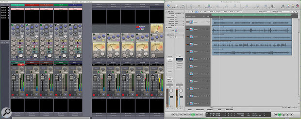 Here you can see I'm using Mixbus as the mixer for my Logic session, a great way to get your feet wet with the new program. Easy access to EQ and compressor controls is one of its strengths. Note the red gain‑reduction meters of the compressor.
