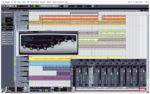 Nuendo 4 in all its glory, playing back one of the many tutorial projects supplied with the application. Note the new Transpose track at the top of the track List that lets you globally transpose both MIDI and audio events during a period of time in the Project.
