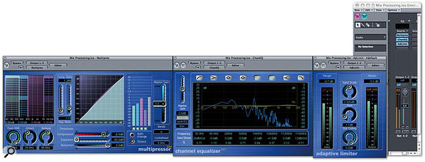 A typical setup for processing a final mix in software, shown here using Logic's Multipressor, Channel EQ and Adaptive Limiter (from left to right).