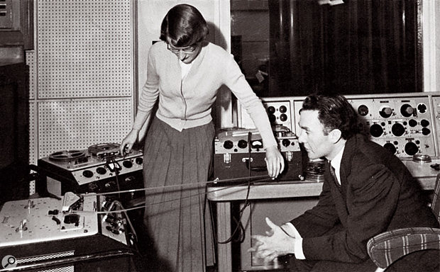 Before the Workshop: Daphne Oram manipulates a tape loop at Broadcasting House, watched by Frederick Bradnum, 1956 or '57.