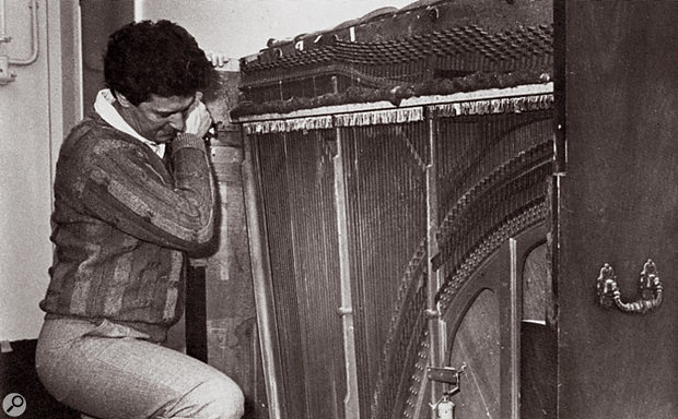 Brian Hodgson with dismembered piano, as used to create 'the Tardis sound' from the Doctor Who TV series.
