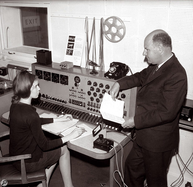 Delia Derbyshire, with Workshop co-founder Desmond Briscoe in 1965.
