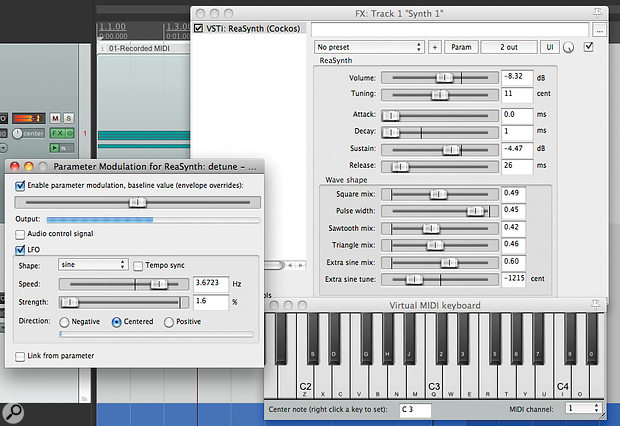 The ReaSynth plug-in being triggered by the Virtual MIDI Keyboard. The 'Detuning' control is being manipulated by an LFO using parameter modulation. Note that the output volume on the plug-in is attenuated once multiple oscillators are mixed together.