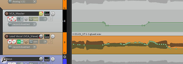 Once you've recorded level-offset automation data to the VCA Master track (above), the snappily titled 'Apply All VCAs From Selected Tracks To Grouped Tracks And Reset Volume/Pan/Mute' Action will merge this data with any existing automation on the VCA Slave track (below) and clear the VCA Master track's envelope in preparation for further tweaks.