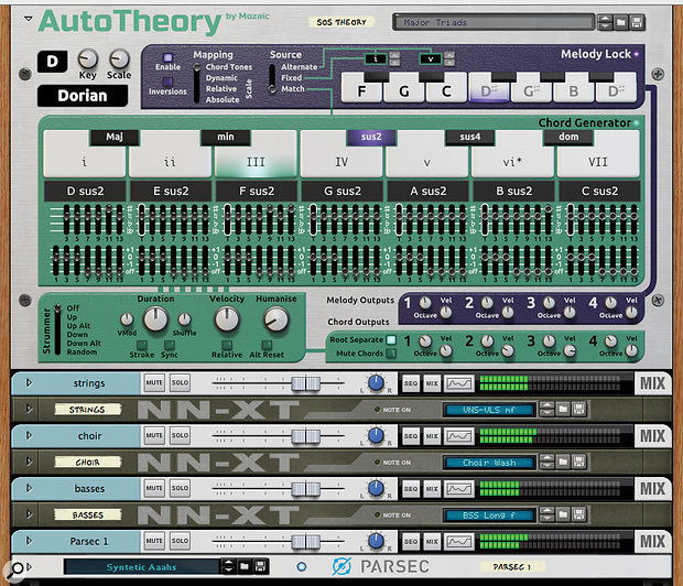1: Reason 7's new-found flexibility allows for third-party MIDI processors like Pitchblende's AutoTheory. It is shown here generating chords for a little orchestral stack, alongside melody patterns for a lead synth sound, all from just a two-note live MIDI input.