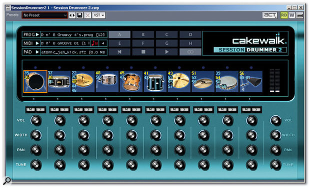 It's Session Drummer 2, Jim — but not as we know it. In this screenshot I've 're-skinned' SD2 for a different look, as well as making the drum pads show the MIDI note numbers to which they respond.