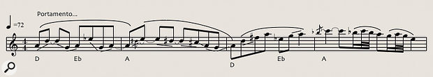 Diagram 3: Asoaring, 'Bollywood'‑style strings lead line from Porcupine Tree's 'Sleep Together'. The melody (which features portamento pitch slides between many of its notes) is played by violins, violas and cellos in three parallel octaves.