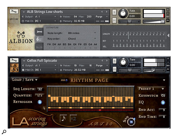 Some string libraries contain rhythm tools for the automatic creation of ostinatos. The two shown here are from Spitfire Audio Albion and Audiobro LA Scoring Strings.