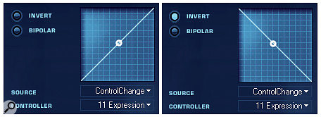 VSL's Vienna Instrument 'Map Control' window can invert incoming MIDI CC data so that pushing your expression controller down makes the instrument volume quieter!
