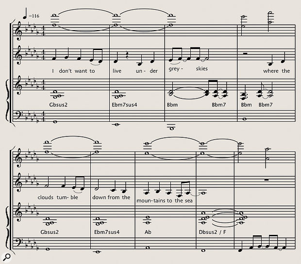 Diagram 1: Extract from the arrangement of 'Grey Skies' showing (from top down) the high countermelody (voiced in octaves), vocal line and keyboard chords.
