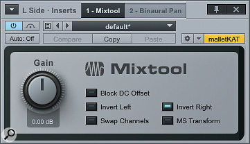 Studio One's Mixtool is ahandy little plug-in that offers an M/S matrix, channel polarity inversion, and a few other useful utility functions.