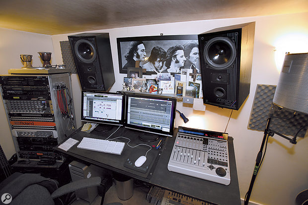 Paul Shepherd's studio, with Mission hi-fi speakers as the main monitors. Some thin foam had been put up, and this took care of the early reflections, but the room's dimensions (including the low ceiling) gave rise to some low-frequency issues.
