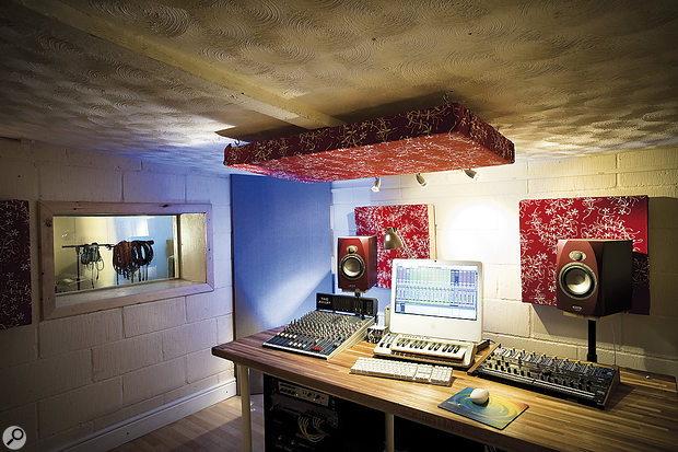 James had already fitted some bass traps in his control room, but having the speakers on stands behind the desk meant that his listening position was in a 'null spot' in the middle of the room, making it difficult to judge low frequencies.