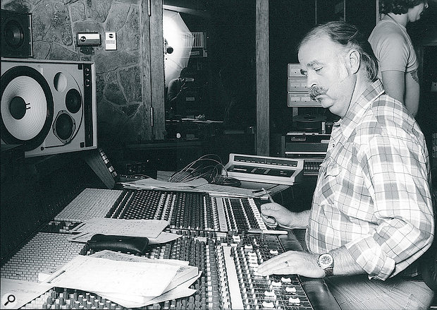 Bruce Swedien at the Harrison console in Westlake Studios, in a photo taken during the mixing of Michael Jackson's Thriller.