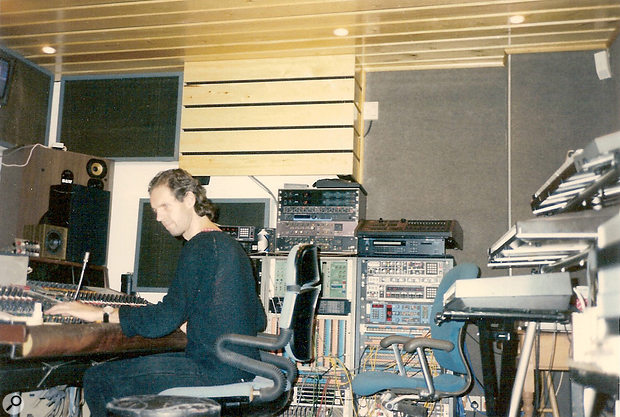 Dave Stewart and Barbara Gaskin (below) working at Spaceward Studios in the early '80s.