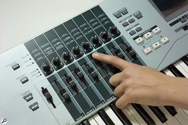 The XS-series instruments double the number of assignable real-time knobs and faders that were available on previous Motif models, for extended hands-on MIDI control.