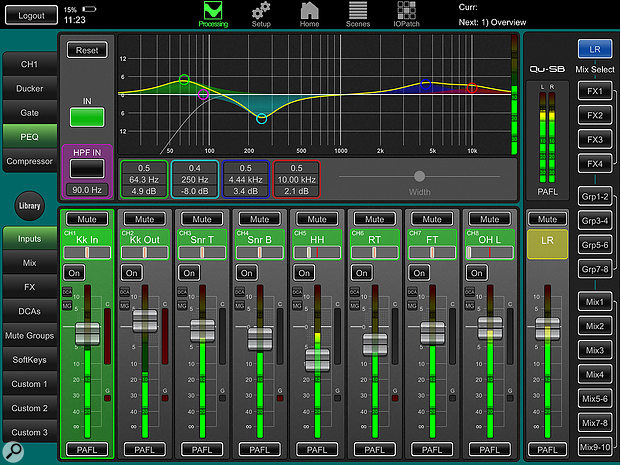 The parametric EQ control is a particular highlight of the accompanying Qu-Pad app.