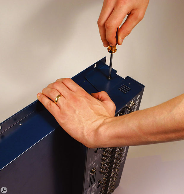 With the aid of a screwdriver it's possible to re-configure the mixer for rackmount use, rotating the connector pod through 90 degrees and exposing the rack ears by removing the plastic side trims.