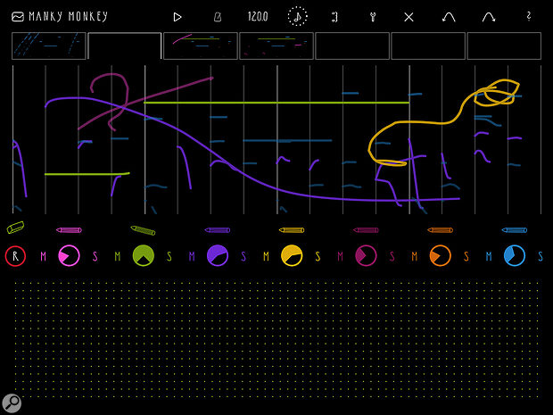 Squiggles turned into music — Fluxpad provides a  colourful overview of every note pitch and duration.