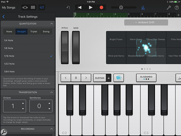 GarageBand 2.2 sees the return of Alchemy to iOS, and introduces a  new Track Controls panel for adjusting various parameters.