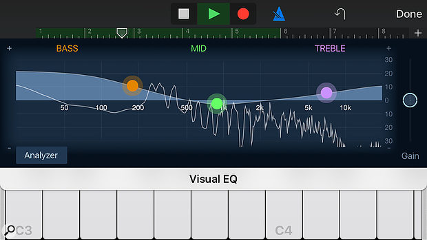 Visual EQ comes to GarageBand, offering three bands and even a frequency analyser.