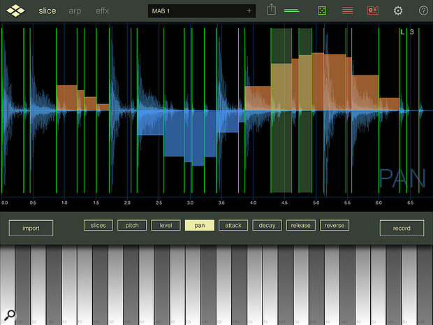 Once your audio is sliced, you can adjust volume, pan and attack/decay on a  per-slice basis for playback.