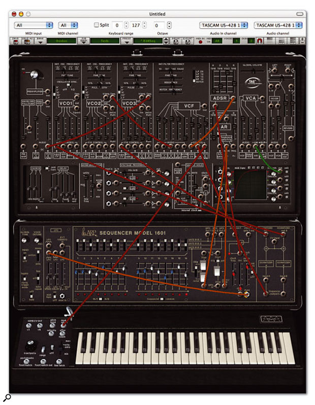Arturia's 2600V at its maximum 1156-pixel height, with the 1601 sequencer emulation and keyboard visible.