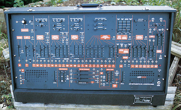 The black and orange final revision of the ARP 2600.
