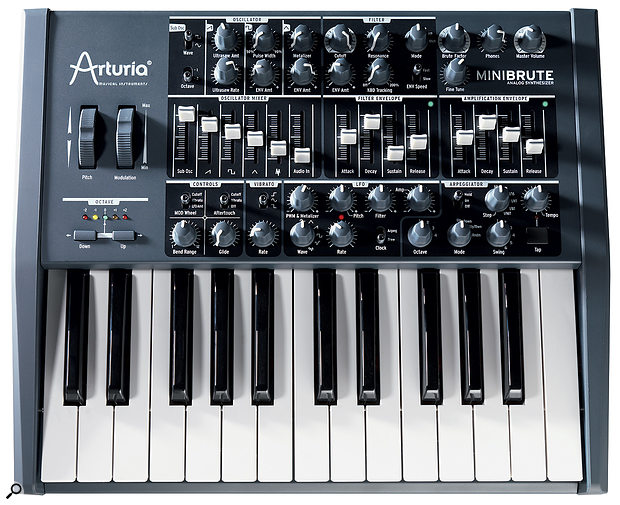Although the MiniBrute is very compact (its main panel measuring just 325 by 390mm) it stillmanages to cram alot of controls into the space available.